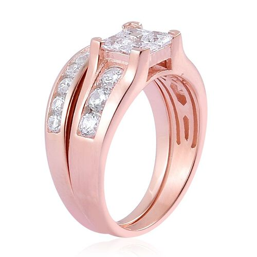 AAA Simulated White Diamond 2 Ring Set in Rose Gold Overlay Sterling Silver