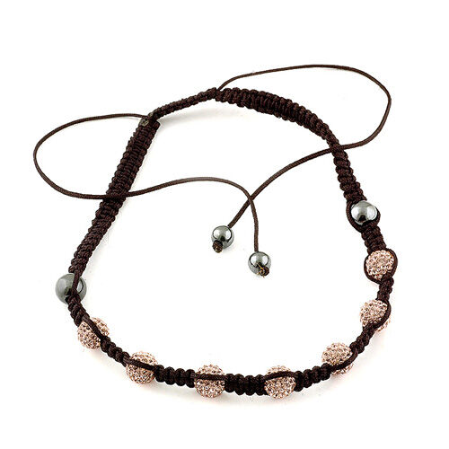 Peach Austrian Crystal, Hematite Necklace (Adjustable)