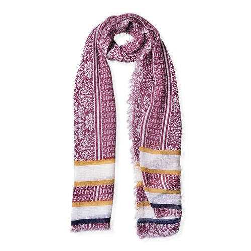 One Time Deal-Burgundy, White and Multi Colour Stripes Pattern Scarf with Fringes (Size 180X90 Cm)