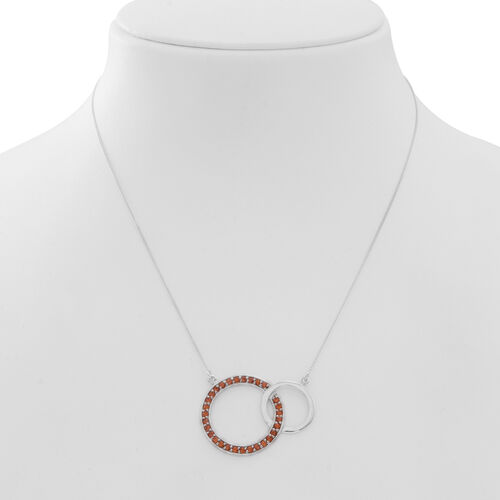 Orange Sapphire (Rnd) Circle of Life Link Necklace (Size 18) in Rhodium Plated Sterling Silver 1.500 Ct.