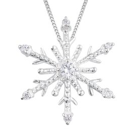 J Francis - Sterling Silver (Rnd) Snowflake Pendant With Chain Made with SWAROVSKI ZIRCONIA