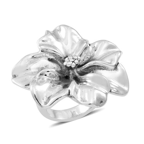 Thai Statement Collection Sterling Silver Floral Ring, Silver wt 9.21 Gms.