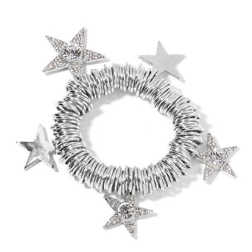 AAA White Austrian Crystal and Simulated White Diamond Star Charms Stretchable Bracelet (Size 7) in Silver Tone