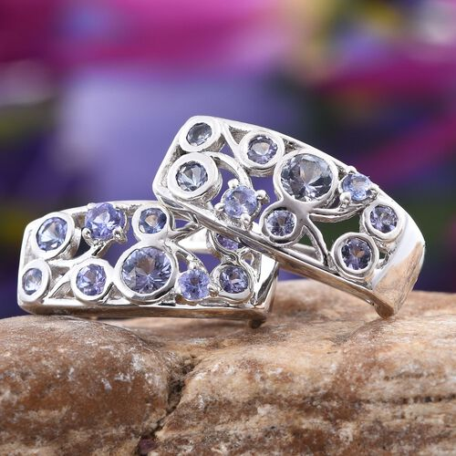 Tanzanite (Rnd) Earrings (with Clasp) in Platinum Overlay Sterling Silver 1.750 Ct.