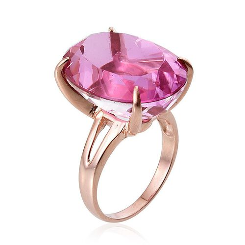 Kunzite Colour Quartz (Ovl) Ring in Rose Gold Overlay Sterling Silver 32.000 Ct.