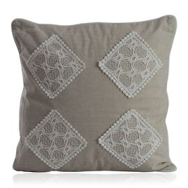 (Option 1) Beige Colour Net Patch Work Cushion (Size 43x43 Cm)