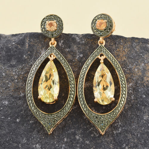 Natural Green Gold Quartz (Pear), Citrine and Green Diamond Earrings (with Push Back) in 14K Gold Overlay Sterling Silver 6.250 Ct.
