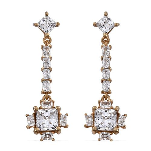 J Francis - 14K Gold Overlay Sterling Silver (Sqr) Earrings (with Push Back) Made with SWAROVSKI ZIRCONIA