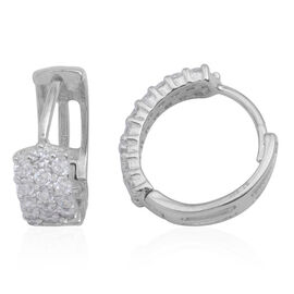 JCK Vegas Collection ELANZA AAA Simulated Diamond (Rnd) Hoop Earrings (with Clasp) in Rhodium Plated Sterling Silver