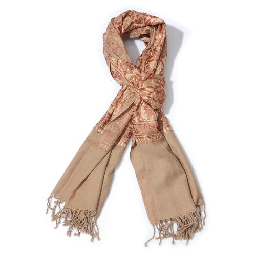 100% Merino Wool Rose Pattern Embroidered Beige Colour Shawl (Size 70x200 Cm)