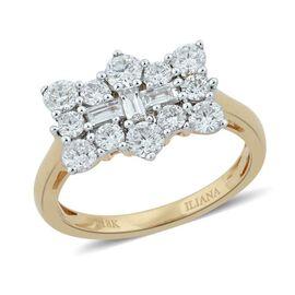 ILIANA 18K Y Gold IGI Certified Diamond (Bgt) (SI / G-H) Boat Cluster Ring 1.000 Ct.
