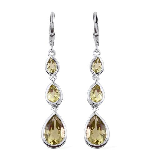 Natural Ouro Verde Quartz (Pear) Lever Back Earrings in Platinum Overlay Sterling Silver 8.000 Ct.
