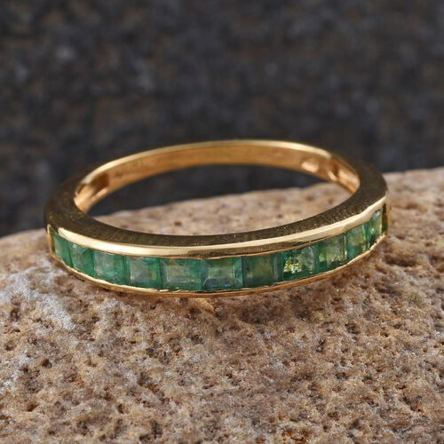 Very Rare Kagem Zambian Emerald (Sqr) Half Eternity Band Ring in 14K Gold Overlay Sterling Silver 1.000 Ct.