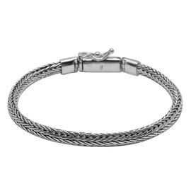 Royal Bali Collection - Hand Made Sterling Silver Tulang Naga Bracelet (Size 8), Silver wt 21.07 Gms.