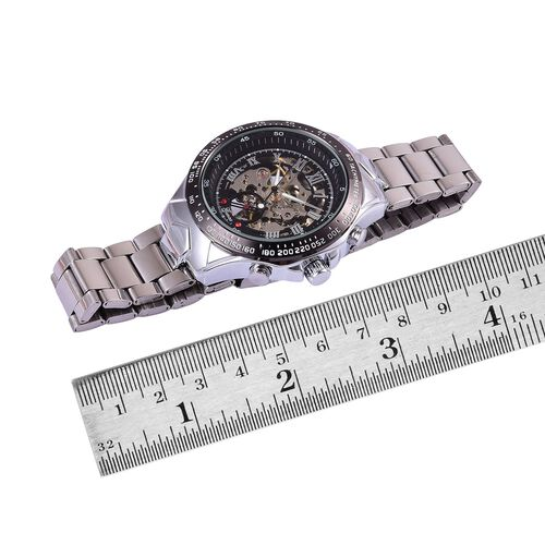 GENOA Automatic Skeleton Red Austrian Crystal Studded Black Dial Water Resistant Watch in Silver Tone with Stainless Steel Back and Chain Strap
