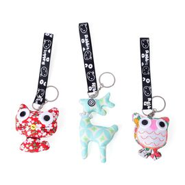 Set of 3 - Red, White, Green and Multi Colour Floral Pattern Cat, Deer and Owl Bag Charm with Simulated Pearl