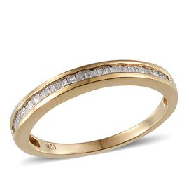 Diamond (Bgt) Half Eternity Band Ring in 14K Gold Overlay Sterling Silver 0.330 Ct.