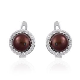 Fresh Water Chocolate Pearl and Simulated White Diamond Earrings (with Clasp) in Rhodium Plated Sterling Silver