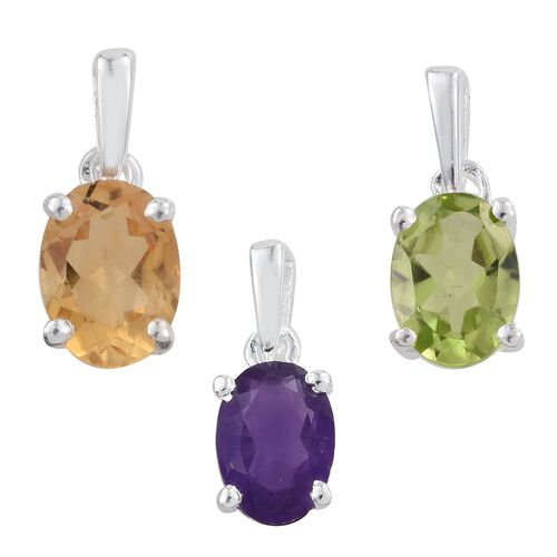 Set of 3 - Hebei Peridot (Ovl), Citrine and Amethyst Solitaire Pendant in Sterling Silver