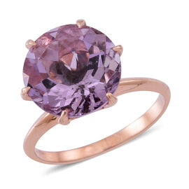 Rose De France Amethyst (Rnd) Solitaire Ring in Rose Gold Overlay Sterling Silver 5.500 Ct.