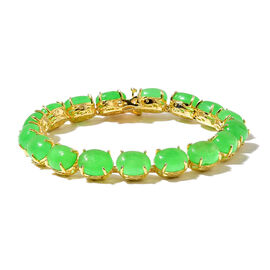 Green Jade (Ovl) Dragon Bracelet (Size 6.5) in Yellow Gold Overlay Sterling Silver 32.250 Ct.
