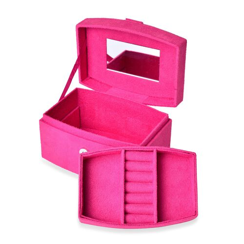 Rose Red Colour Velvet 2 Layer Jewelley Box with Mirror Inside (Size 15.3x11x8.8 Cm)
