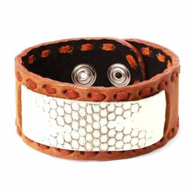 Snake Skin Pattern Chocolate Colour Leather Bangle