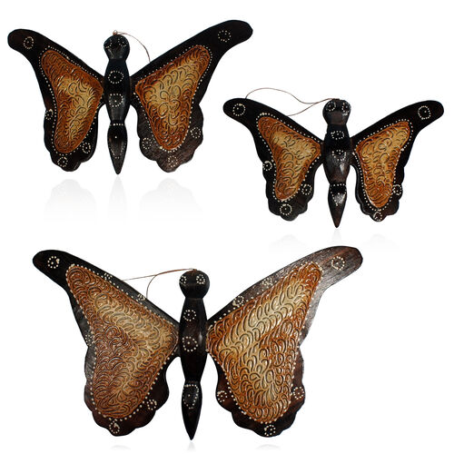 Bali Collection Home Decor - Set of 3 Black and Multi Colour Hand Carved & Painted Wooden Butterflies (Size Large 32X13, Medium 30X13 and Small 23X8 Cm)