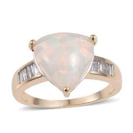 9K Y Gold Ethiopian Welo Opal (Trl 5.60 Ct), Diamond Ring 5.750 Ct.