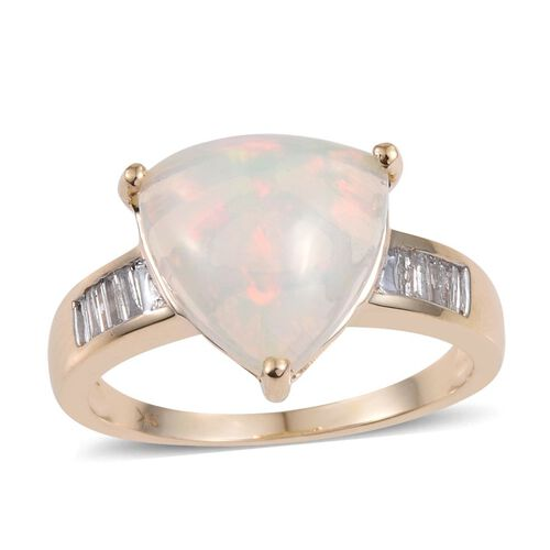 9K Y Gold Ethiopian Welo Opal (Trl 5.60 Ct), Diamond Ring 5.750 Ct.