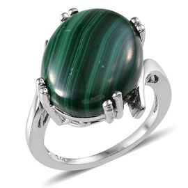 Malachite (Ovl) Ring in ION Plated Platinum Bond 14.000 Ct.