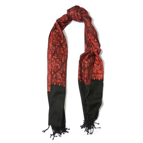 Red Colour Embroidered Black Colour Woolen Shawl (Size 70x200 Cm)