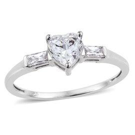 J Francis - Platinum Overlay Sterling Silver (Hrt) Ring Made with SWAROVSKI ZIRCONIA