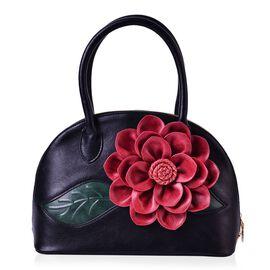 Option-3 (LAST CHANCE CLEARANCE ) Botanical Collection Red 3D Floral  Pattern Black Colour Tote Bag (Size 29x21x11.5 Cm)