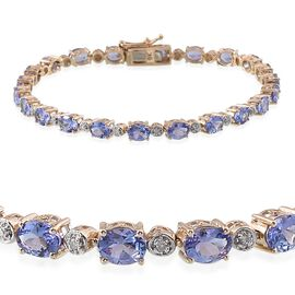 9K Y Gold Tanzanite (Ovl), Diamond Bracelet (Size 7.5) 7.550  Ct.