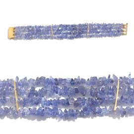 Jewels Of India Tanzanite Bracelet (Size 7.5) in Yellow Gold Overlay Sterling Silver 82.990 Ct.