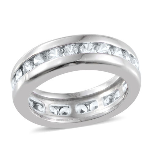 J Francis - Platinum Overlay Sterling Silver (Rnd) Full Eternity Band Ring Made with SWAROVSKI ZIRCONIA 1.620 Ct.