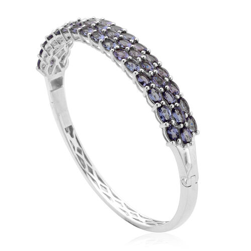 Tanzanite (Ovl) Bangle (Size 7) in Platinum Overlay Sterling Silver 11.500 Ct.