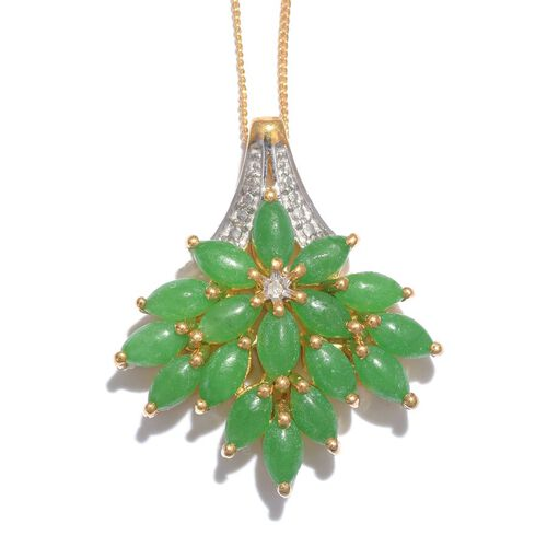 Green Jade (Mrq), Diamond Pendant With Chain in 14K Gold Overlay Sterling Silver 7.250 Ct.