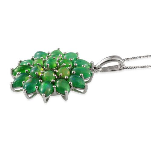 Green Ethiopian Opal (Rnd) Cluster Pendant With Chain in Platinum Overlay Sterling Silver 5.000 Ct.