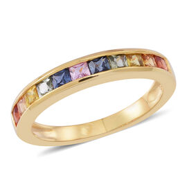 Rainbow Sapphire (Sqr) Half Eternity Band Ring in 14K Gold Overlay Sterling Silver 1.250 Ct.