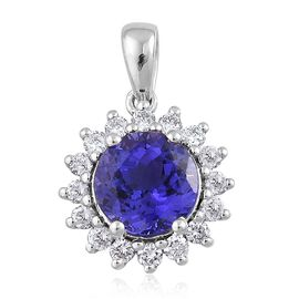 ILIANA 18K W Gold AAA Tanzanite (Rnd 2.00 Ct), Diamond Pendant 2.400 Ct.