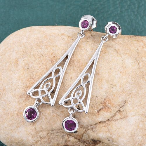Rare Mozambique Grape Colour Garnet (Rnd) Earrings (with Push Back) in Platinum Overlay Sterling Silver 1.000 Ct.