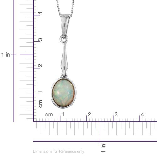 Ethiopian Welo Opal (Ovl) Solitaire Pendant With Chian in Platinum Overlay Sterling Silver 1.000 Ct.
