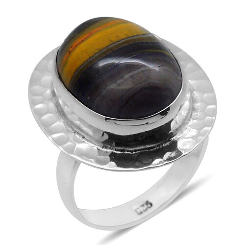 Royal Bali Collection Bumble Bee Jasper (Ovl) Solitaire Ring in Sterling Silver 9.470 Ct.