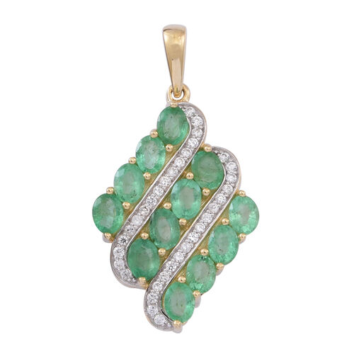 9K Y Gold Kagem Zambian Emerald (Ovl), Natural Cambodian White Zircon Pendant 2.250 Ct.
