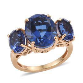 Ceylon Colour Quartz (Ovl 5.25 Ct) 3 Stone Ring in 14K Gold Overlay Sterling Silver 8.250 Ct.