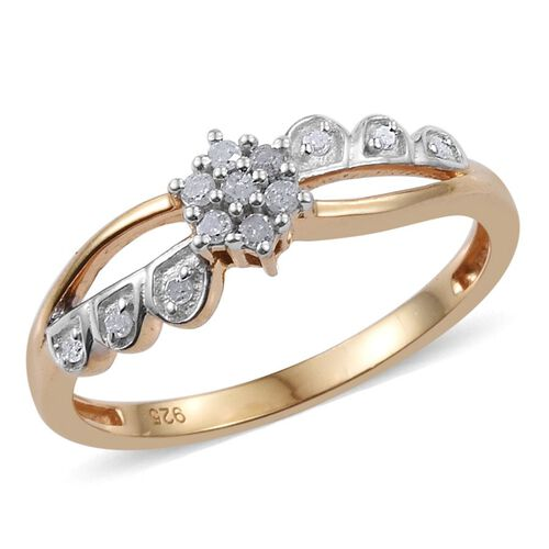 Diamond Flower Promise Silver Ring in 14K Gold Overlay 0.150 Ct.