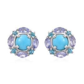 Arizona Sleeping Beauty Turquoise (Rnd), Tanzanite and Signity Pariaba Topaz Stud Earrings (with Push Back) Platinum Overlay Sterling Silver 1.750 Ct.