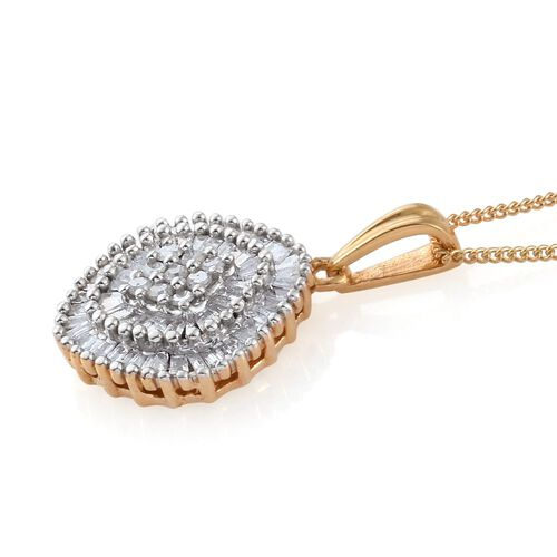 Diamond (Rnd) Cluster Pendant With Chain in 14K Gold Overlay Sterling Silver 0.500 Ct.